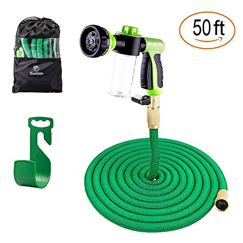 Sosoon Garden Hose, Expanding Extra Strength Stretch Material Water Hose with All Brass Connectors - Bonus 8 Way Spray Nozzle,Dish Soap Liquid Detergent Container, Carrying Bag and Hanger (50 Feet)