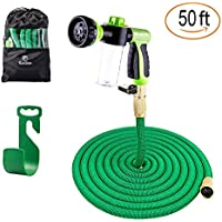 Sosoon Expanding Extra Strength Stretch Material Water Garden 50 Feet 8 Way Spray Nozzle Hose with All Brass Connectors