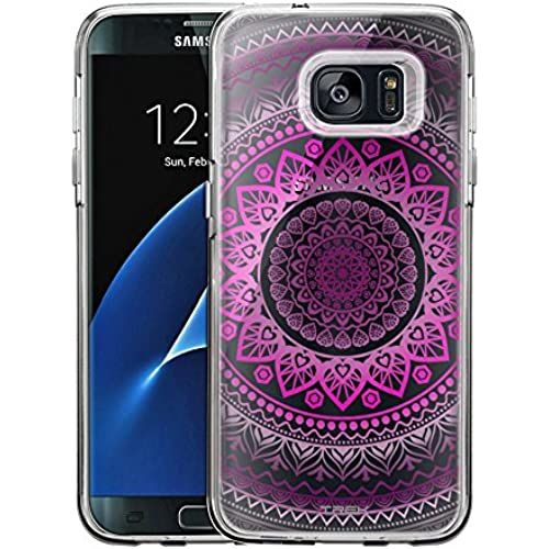 Samsung Galaxy S7 Edge Case, Slim Fit Snap On Cover by Trek Pink Circle Mandala Clear Case Sales
