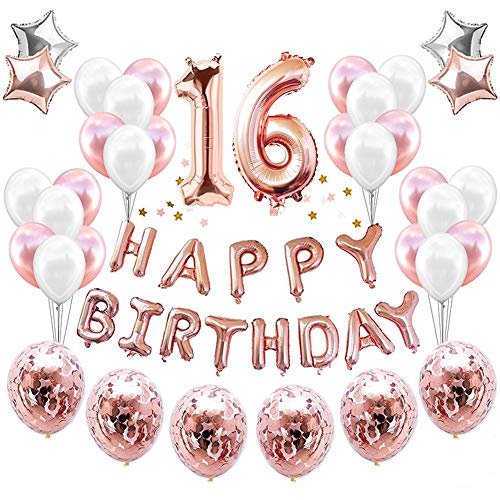 HankRobot 16th Birthday Decorations Party Suppies(38pack)Rose Golden Number 16 Birthday Balloons Happy Birthday Balloon Banner Golden Rose Confetti Balloons Perfect Birthday Decorations for -