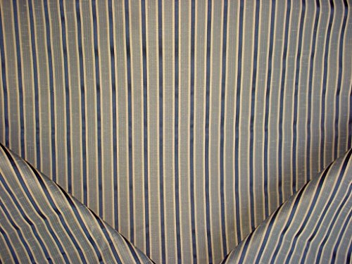 140RT7 - Sapphire Blue / Gold Faux Silk Stripe Designer Upholstery Drapery Fabric - By the -