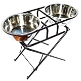 EXPAWLORER Stainless Steel Elevated Dog Bowl and Stand Set, Multi-Level Adjustable Raised Pet Feeder