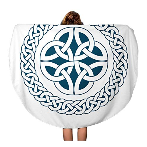 (Tinmun 60 Inches Round Beach Towel Blanket Abstract Circular Pattern of Medieval Celtic Knot 02 Ancient Travel Picnic Carpet Yoga Mat)