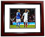 Niall Horan and Louis Tomlinson Signed - Autographed 1D One Direction Soccer 8x10 Photo MAHOGANY CUSTOM Frame - Guaranteed to pass PSA or JSA -
