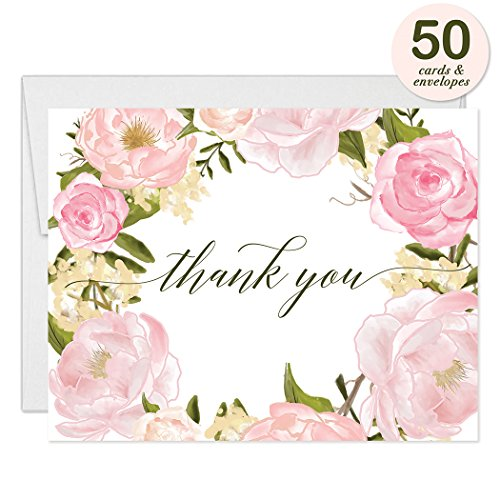Peony Flat Card (Lovely Pink Peonies Wreath Thank You Cards with Envelopes ( Pack of 50 ) Beautiful Buds Thanks Birthday Baby Bridal Shower Baptism Christening Thank You Notes Excellent Value Gracias Notecards VT0046)