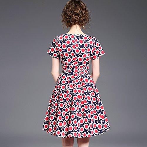Robes D'impression Cotylédons Pour Les Femmes Scoop Cou Manches Courtes Robes De Ligne