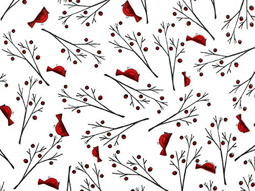 Cardinal Wrapping Paper Roll (Fanciful Cardinal) for Christmas Gift Wrap, 30