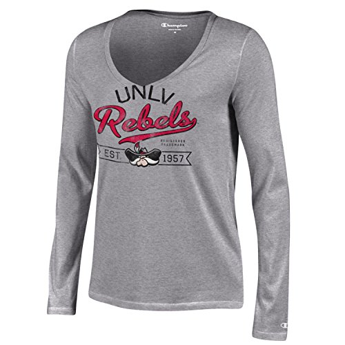 NCAA UNLV Rebels Women's Champion University Long sleeve V-Neck T-Shirt, X-Small, Gray (Unlv Ncaa Rebels University)