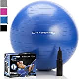 DYNAPRO Exercise Ball - 2,000 lbs Stability Ball - Professional Grade – Anti Burst Exercise Equipment for Home, Balance, Gym, Core Strength, Yoga, Fitness, Desk Chairs (Blue, 65 Centimeters)