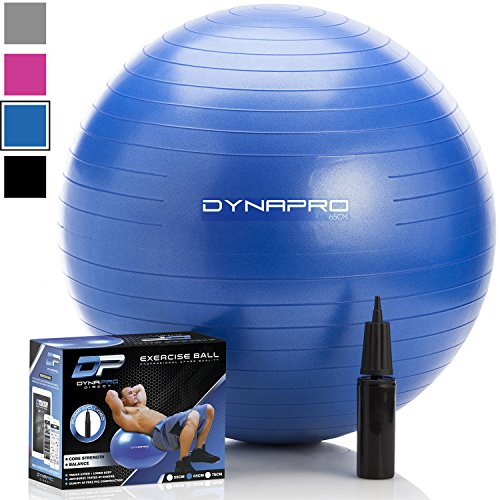 DYNAPRO Exercise Ball - 2,000 lbs Stability Ball - Professional Grade - Anti Burst Exercise Equipment for Home, Balance, Gym, Core Strength, Yoga, Fitness, Desk Chairs (Blue, 75 Centimeters)