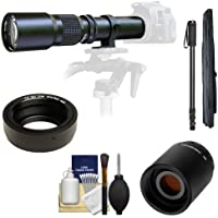 Samyang 500mm f/8.0 Telephoto Lens with 2x Teleconverter (=1000mm) + Monopod Kit for Olympus OM-D EM-5, Pen E-P2, E-P3, E-PL2, E-PL3, E-PM1 & Panasonic Micro 4/3 Digital Cameras