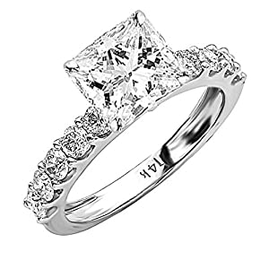 1.9 Ctw 14K White Gold GIA Certified Princess Cut Classic Side Stone Prong Set Diamond Engagement Ring, 1 Ct G H VS1 VS2 Center
