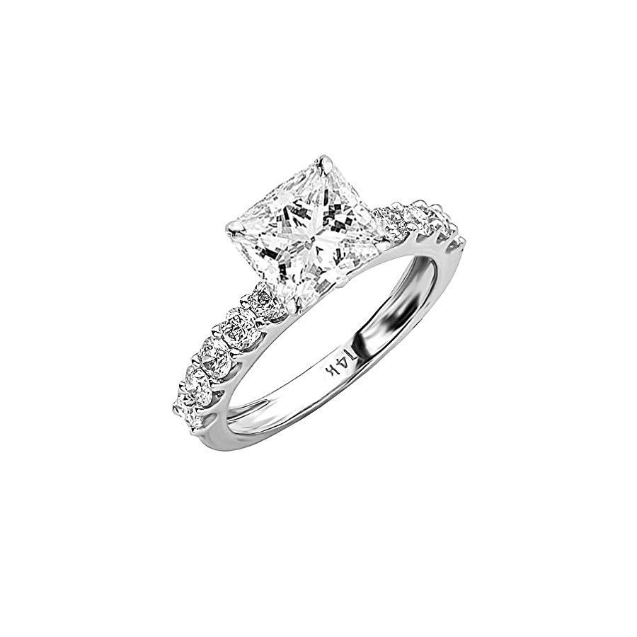 1.9 Ctw 14K White Gold GIA Certified Princess Cut Classic Side Stone Prong Set Diamond Engagement Ring, 1 Ct G H VS1 VS2 Center