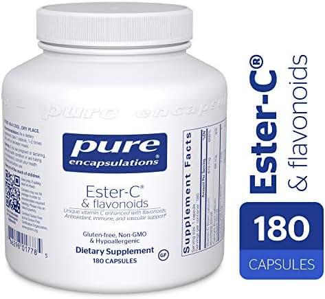 Pure Encapsulations - Ester-C & Flavonoids - Hypoallergenic Vitamin C Supplement Enhanced with Bioflavonoids - 180 Capsules