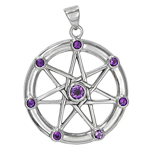 Faerie Star - Moonlight Mysteries Sterling Silver Large Septagram Pendant with Natural Amethyst