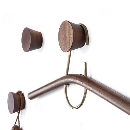 Amazon Com 2pcs Natural Wooden Coat Hooks Wall Mounted Single Cone