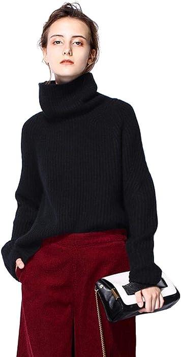 9b82a420b0f Turtleneck Sweater Women Black Oversized Long Sleeve Ribbed Elbow Cardigan  Plus Size Fall 2019 (S