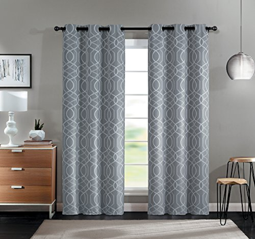 Cheap VCNY Home 2 Pack Geometric Trellis Blackout, Room Darkening, Energy Saving, Noise Reducing, Thermal Grommet Top Curtain Panels – Assorted Colors (Gray)