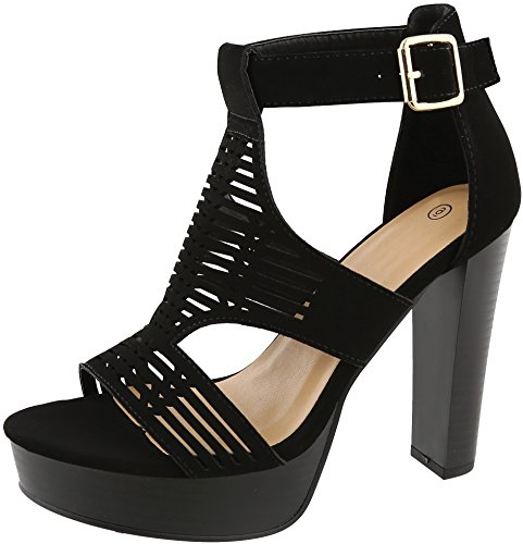 Cambridge Select Women's Open Toe Caged Laser Cutout Buckled Ankle Strap Platform Chunky Stacked Block Heel Sandal,8.5 B(M) US,Black - Stacked Inch 4.5 Platform