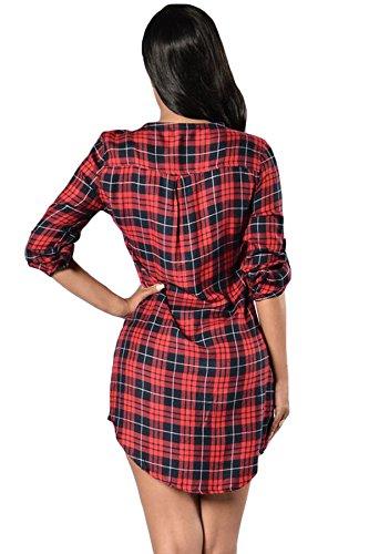 Nuevas señoras rojo y negro Check Lace Up Front manga larga vestido mini vestido club wear Evening fiesta verano vestidos tamaño M UK 10–�?2