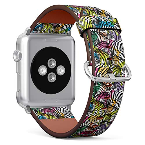 (Zebra with Colorful Silhouette Wildlife Animals Trendy Texture Design) Patterned Leather Wristband Strap for Apple Watch Series 4/3/2/1 gen,Replacement for iWatch 38mm / 40mm Bands