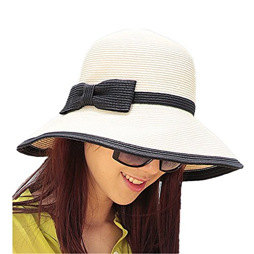 Home Prefer Womens Straw Sun Hat UPF50+ Wide Brim Floppy Hat Summer Beach Cap Cream