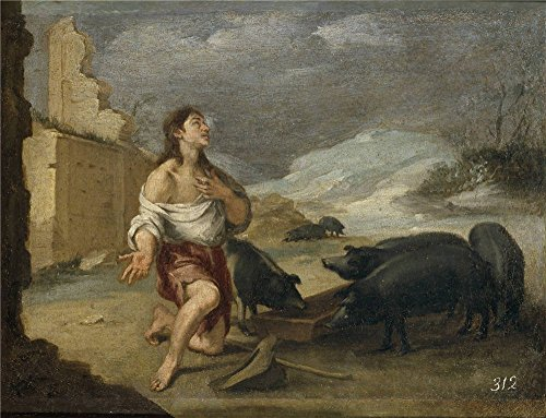 Eat Your Heart Out Origin (Polyster Canvas ,the Beautiful Art Decorative Prints On Canvas Of Oil Painting 'Murillo Bartolome Esteban El Hijo Prodigo Abandonado Ca. 1660 ', 10 X 13 Inch / 25 X 33 Cm Is Best For Kids Room Decoration And Home Decor And Gifts)
