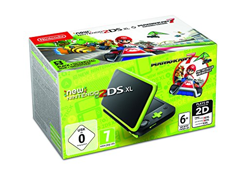 Nintendo Handheld Console - New Nintendo 2DS XL - Black and Lime Green - Pre-installed with Mario Kart 7 (Nintendo 3DS)