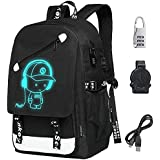 FLYMEI Anime Luminous Backpack with USB Charging Port and Anti-theft Lock for Boys and Girls, Unisex Laptop Backpack Daypack Fashion School Backpack Bookbag College Rucksack Travel Backpack, Black