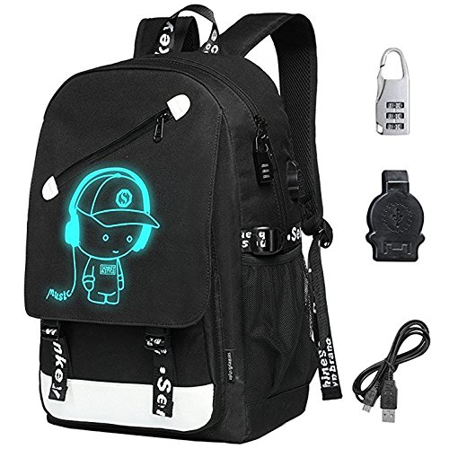 FLYMEI Anime Luminous Backpack, Laptop Backpack with USB Charging Port, Bookbag for Boys and Girls with Anti-Theft Lock, Black Travel Bag Cool School Backpack for Teens, 17.7'' x 11.8'' x 5.5''