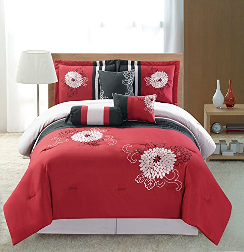 7 Piece Burgundy Red Black Silver Grey Designer Embroidered Bedding-Luxury Comforter set Bed-in-a-bag California (Cal) King Size