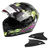 Acouto Universal Adult Full Face Motorcycle Bike Safety Half Helmet Double Lens Anti-fog (M)