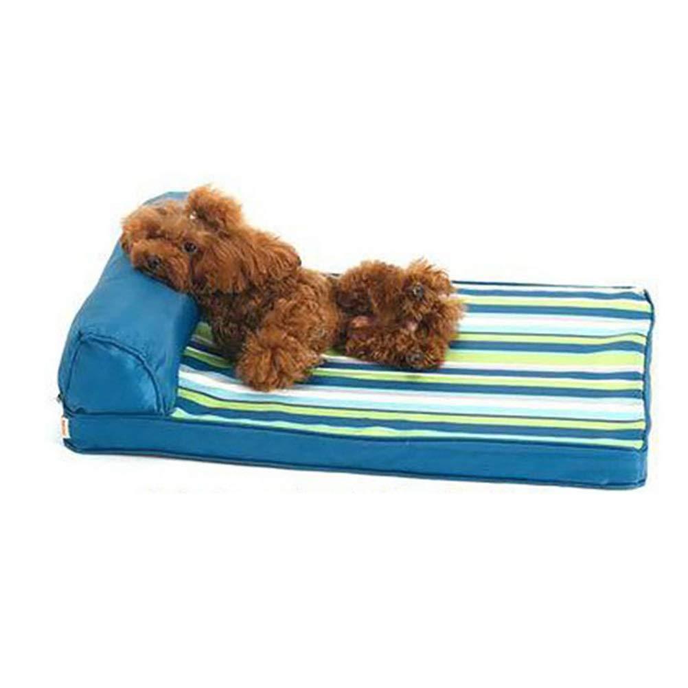 1 backrest L 1 backrest L Soft and Comfortable Removable Dog Bed bluee Striped pet Bed Sleeping Bag pad cat pad Four Seasons Universal Pet cat Dog cave (color   1 backrest, Size   L)