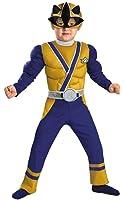 Boys Gold Ranger Samurai Muscle Kids Child Fancy Dress Party Halloween Costume
