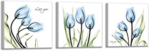 Bolant Decor Elegant Blue Tulip Canvas Printing Wall Art Painting Living Room Decoration and Modern Home Decoration Photo Printing (3 Pieces 12X12inch, Blue Flowers)