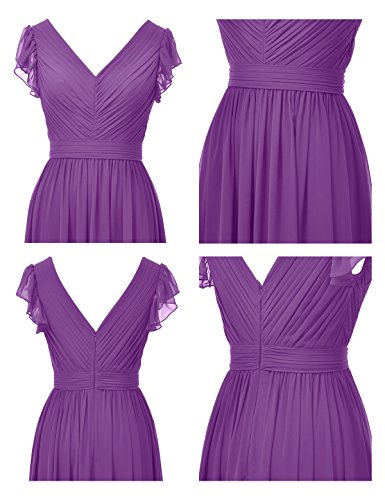Sleeveless Dress Bridesmaid V Gown Long Dress Purple Ball Alicepub Neck Evening Prom Party PtwIA6