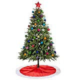 Image of Rorgio Christmas Tree Skirt - 48 inches - Large Red and White Holiday Traditional Velvet Christmas Decorations for Home