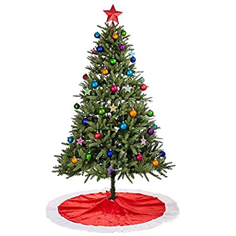 Rorgio Christmas Tree Skirt - 48 inches - Large Red and White Holiday Traditional Velvet Christmas Decorations for - Design Christmas Tree Skirt