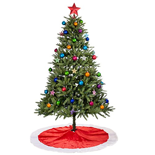 Rorgio Christmas Tree Skirt - 48 inches - Large Red and White Holiday Traditional Velvet Christmas Decorations for Home (Cheap Christmas Tree)