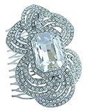Sindary 3.15'' Flower Wedding Hair Comb Silver Tone Clear Rhinestone Crystal Wedding Headpiece HZ6076