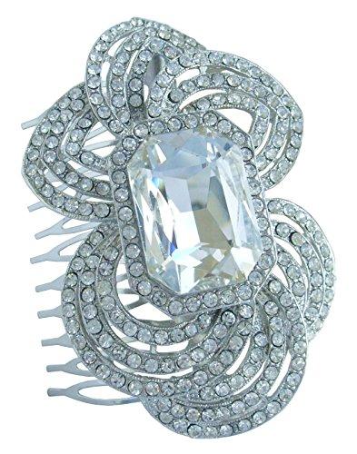 Sindary 3.15'' Flower Wedding Hair Comb Silver Tone Clear Rhinestone Crystal Wedding Headpiece HZ6076 by Wedding Hair Accessories-Sindary Jewelry
