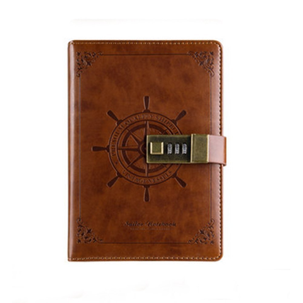 GRT PU Leather Business Retro Notebook with Password Lock Nautical Diary Classic Notebook with Pen Clip and Bag (Brown)