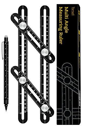 Universal Angularizer Ruler - Template Tool – Metal Multi-Angle Measurement Tool with Laser Engraving - Multifunction Pen - Black Aluminum Measuring Ruler Set for Carpenters Tilers Craftsmen (Scale Corner)