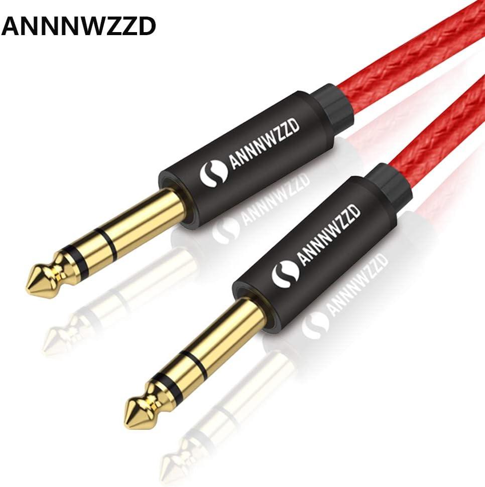 Cable de Audio Mono de 6,35 mm a 6,35 mm, Cable de Altavoz Profesional TS de 1/4 Pulgadas para Guitarra eléctrica, bajo, Amplificador, Teclado Instrumento Profesional, etc.
