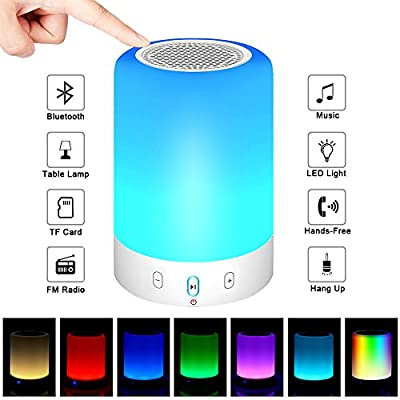 Bluetooth Speakers With Touch Bedside Lamp Color Changing LED Night Light Portable Bluetooth Speaker,Best Gift for Men Women Teens Children Kids(Upgraded Version)