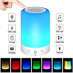 Color:White  ♪Adopting digital signal processing technique, this awesome Bluetooth speaker supports Bluetooth connection, TF card and FM radio, compatible with most Bluetooth devices♪Smart touch lamp- the light color can be changed by touchi...
