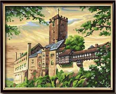 Diy oil painting, paint by number kit- Wartburg castle 16*20 inch.