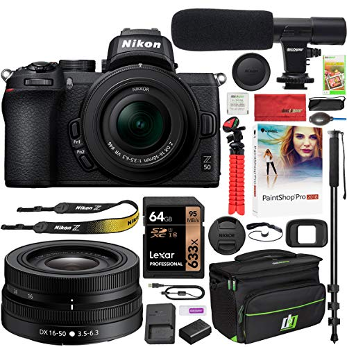 Nikon Z50 Mirrorless Camera Body 4K UHD DX-Format NIKKOR Z DX 16-50mm F/3.5-6.3 VR Lens Bundle with Deco Gear Deluxe Gadget Bag Case + Microphone + Monopod + 64GB Memory Card & Accessories