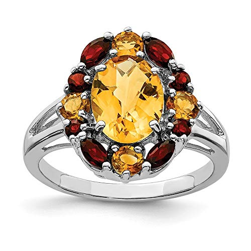 - 925 Sterling Silver Yellow Citrine Red Garnet Band Ring Size 8.00 Stone Gemstone Fine Jewelry Gifts For Women For Her