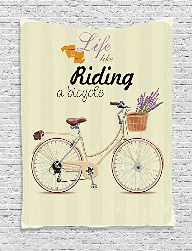 Ambesonne Bicycle Decor Wall Hanging Tapestry by, Boho Pop A